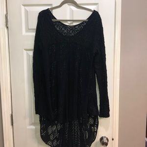 Free People black lace high/low tunic size Large